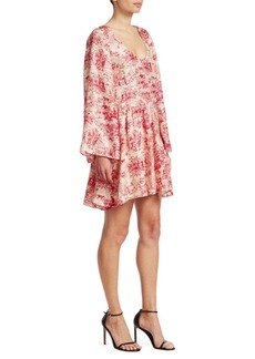 Elizabeth and James Aga Toile Floral-Print Silk A-Line Dress