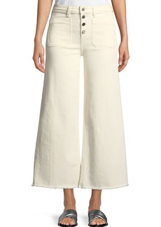 Elizabeth and James Carmine Button-Fly Wide-Leg Jeans with Raw-Edge Hem