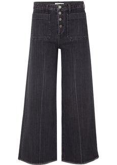 Elizabeth and James Carmine Frayed High-rise Wide-leg Jeans