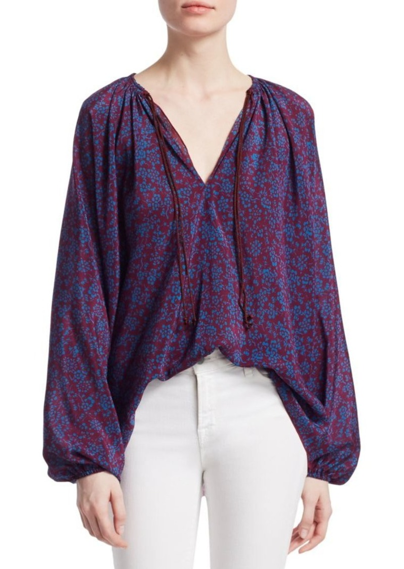 Elizabeth and James Chance Long Sleeve Silk Blouse