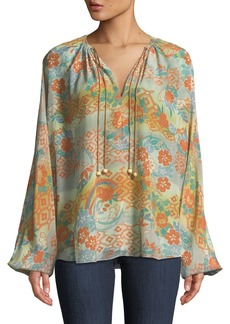Elizabeth and James Chance Ruched-Neck Long-Sleeve Printed Silk Blouse