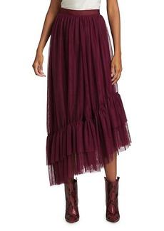 Elizabeth and James Cheryl Asymmetric Tulle Flounce-Hem Midi Skirt
