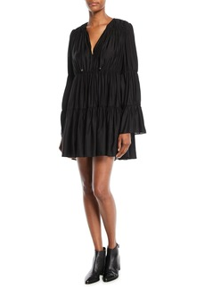 Elizabeth and James Cheryl Long-Sleeve Tiered & Gathered Mini Dress
