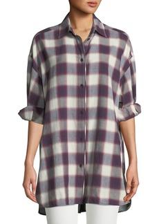 Elizabeth and James Clive Button-Down Oversized Plaid Shirt w/ Back Slit