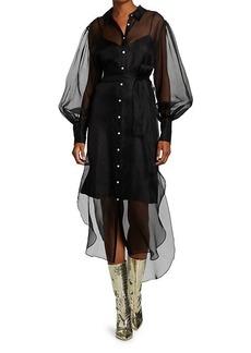 Elizabeth and James Elian Sheer Puff-Sleeve Silk Midi Dress