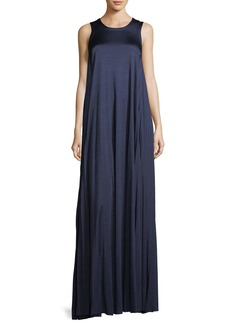 Elizabeth and James Abbott Sleeveless Satin Gown with Pleated Sides
