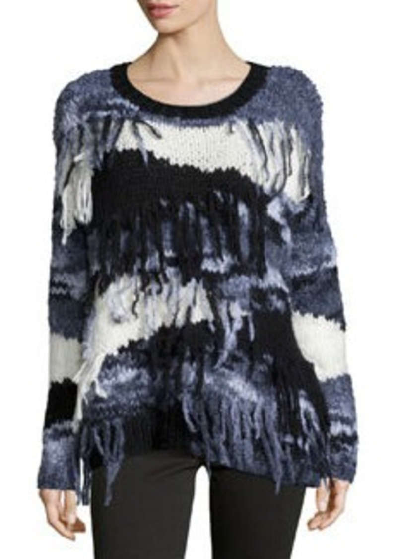 Elizabeth and James Long-Sleeve Sweater W/Fringe