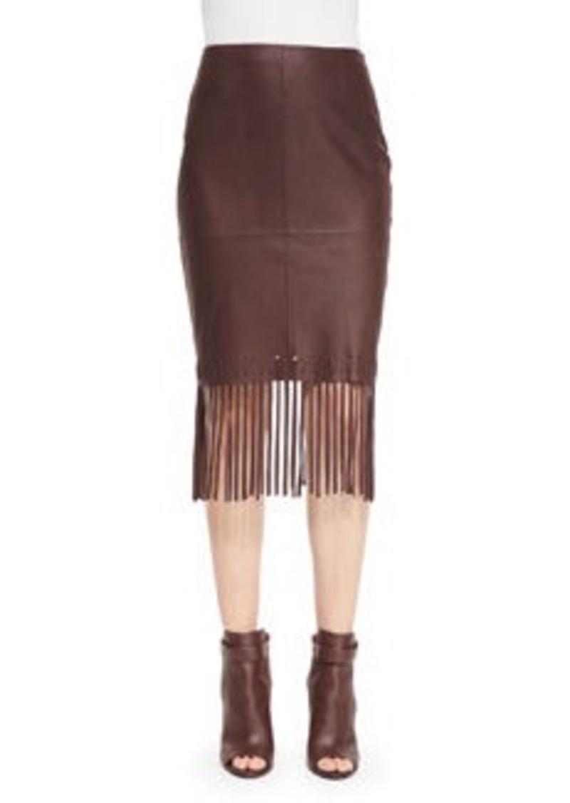 Elizabeth and James Jaxson Leather Skirt W/Fringe