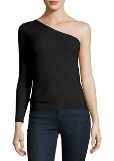 Amanda One-Shoulder Ribbed Stretch Top