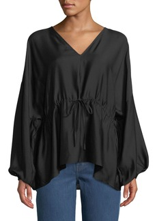 Elizabeth and James Angela Cinched V-Neck Long-Sleeve Top