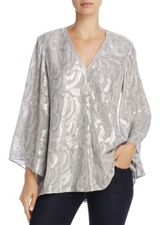 Elizabeth and James Ariel Metallic Bell-Sleeve Top