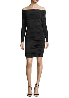 Elizabeth and James Blaise Off-the-Shoulder Long-Sleeve Ruched Dress
