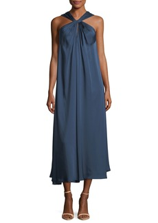 Elizabeth and James Cavan Twist-Front A-Line Satin Long Dress
