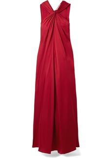 Elizabeth and James Cavan Twist-front Satin-twill Maxi Dress
