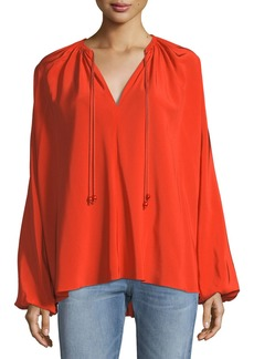 Elizabeth and James Chance Long-Sleeve Silk Top with Rope Tie Detail