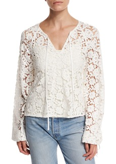 Elizabeth and James Chantalle Long-Sleeve Cotton Lace Top