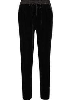 Elizabeth and James Collier satin-trimmed velvet track pants