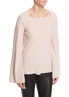 Elizabeth and James Danel Twist-Back Long-Sleeve Crepe Blouse