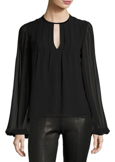 Elizabeth and James Dante Jewel-Neck Long-Sleeve Pintucked Silk Blouse