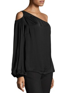 Elizabeth and James Denissa Asymmetric-Neck One-Sleeve Satin Blouse