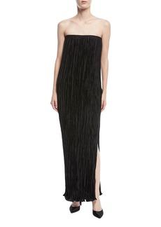 Elizabeth and James Denver Strapless Pleated Side-Slit Long Cocktail Dress