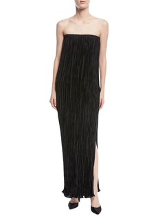 Elizabeth and James Denver Strapless Pleated Side-Slit Long Cocktail Dress