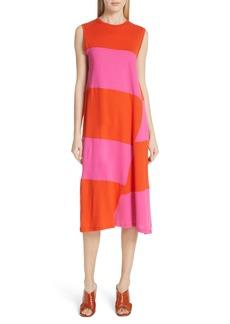Elizabeth and James Dove Asymmetrical Stripe Dress