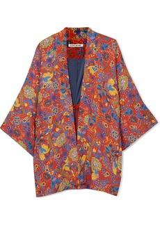 Drew floral-print crepe kimono