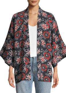 Elizabeth and James Drew Printed Open Tie-Front Kimono