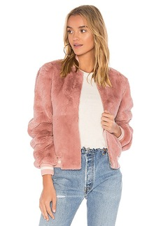 Elizabeth and James Ellington Fur Bomber Jacket in Pink. - size L (also in M,S,XS)