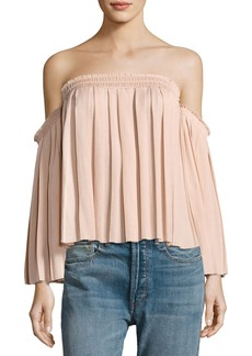 Elizabeth and James Emelyn Off-the-Shoulder Pleated Top
