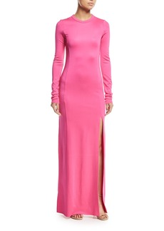 Elizabeth and James Fallon Crewneck Long-Sleeve Gown w/ High Slit