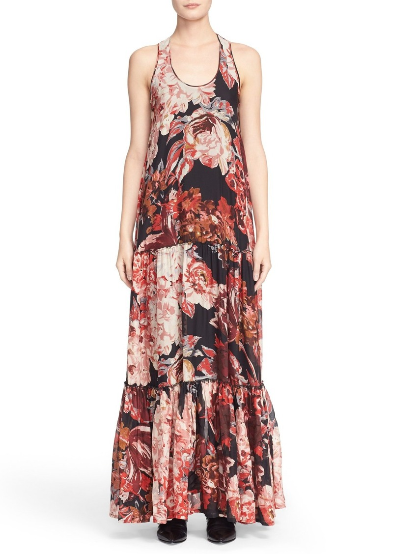 Elizabeth and James Floral Print Tiered Silk Maxi Dress