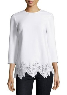 Elizabeth and James Florence 3/4-Sleeve Lace-Trim Crepe Top