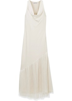 Elizabeth and James Fringed Draped Crepe De Chine Maxi Dress