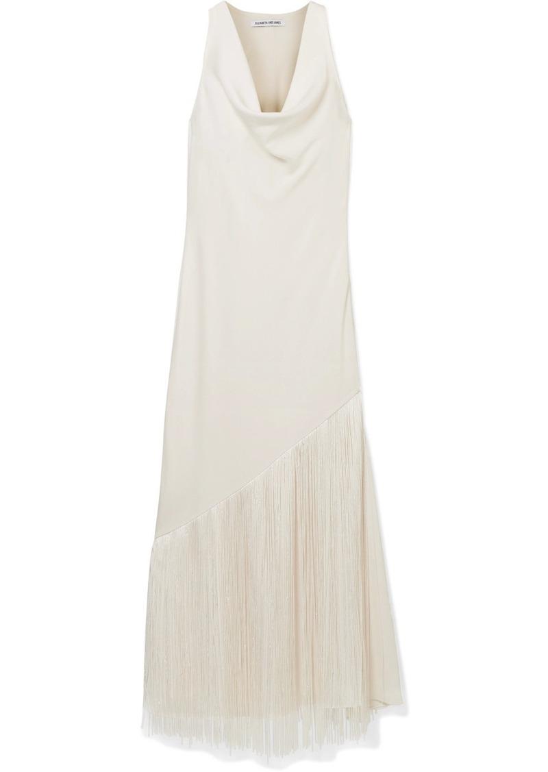 Elizabeth and James Fringed Draped Crepe De Chine Maxi Dress