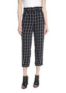 Elizabeth and James Fritz Cropped Paperbag-Waist Check Pants