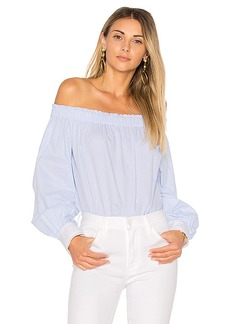 Elizabeth and James Geneva Off the Shoulder Top in Blue. - size L (also in M,S,XS)