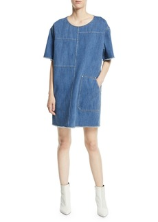 Elizabeth and James Harper Crewneck Short-Sleeve Paneled Oversized Denim Tee