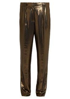 Elizabeth And James Hawke pleated straight-leg lamé trousers
