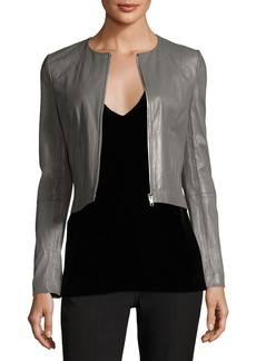 Elizabeth and James Helen Long-Sleeve Cropped Leather Moto Jacket
