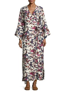 Elizabeth and James Howe Floral Silk Kimono Dress