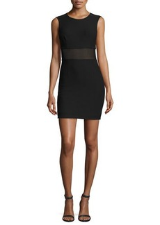 Elizabeth and James Jackie Sleeveless Ponte Mesh-Trim Mini Dress