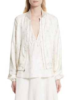 Elizabeth and James Jacque Floral Print Silk Bomber Jacket