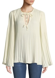 Elizabeth and James Jade Long-Sleeve Tie-Neck Pleated Top