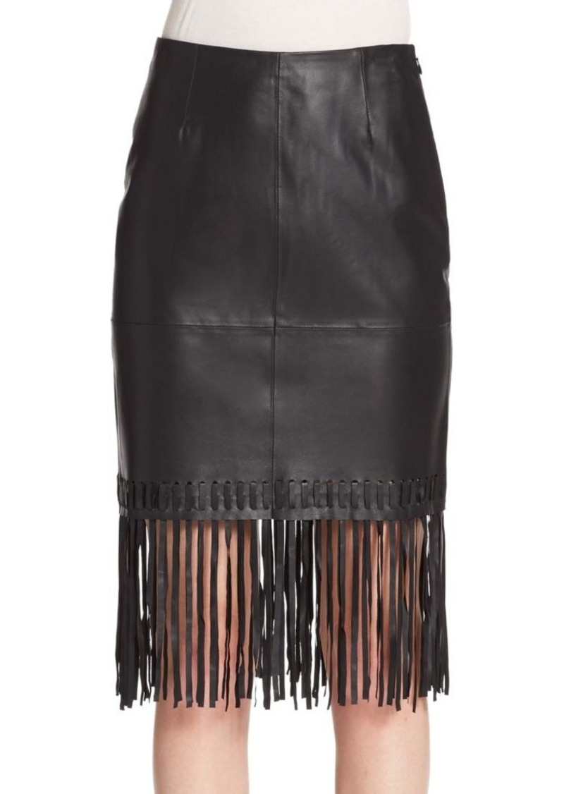 Elizabeth and James Jaxson Leather Fringe Pencil Skirt