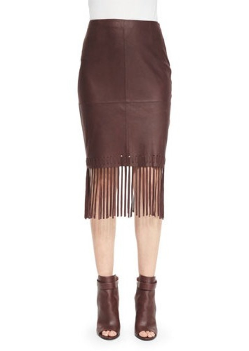 Elizabeth and James Jaxson Leather Skirt W/Fringe
