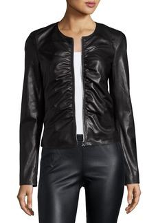 Elizabeth and James Jean Ruched Zip-Front Leather Moto Jacket