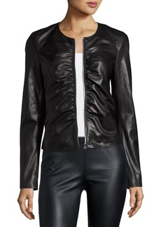 Elizabeth and James Jean Ruched Zip-Front Leather Moto Jacket