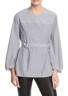 Jesse P Mixed-Stripe Belted Blouse